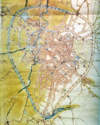 Plan de Bruxelles par Jacob van Deventer, 1555 (Bibliothèque royale de Bruxelles) sur lequel est porté l'angle de vue du dessin de Dürer