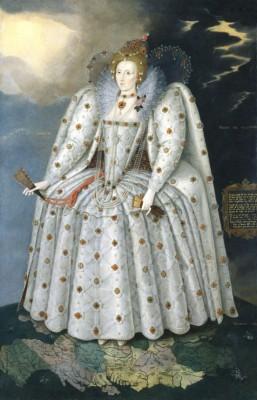 Une illustration proposée par Bernard Debarbieux au cours de sa présentation et qui figure dans son livre. Un portrait d'Elisabeth 1re peint par Marcus Gheeraerts et conservé à la National Gallery de Londres. L'originalité de ce tableau tient à la carte d'Angleterre sur laquelle l'artiste la fait tenir. Si la passion anglaise pour la cartographie n'est pas née de la curiosité de la monarchie et de l'Etat anglais, ceux-ci s'en emparent très vite.
