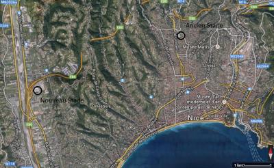 Figure 2: Situation des stades de Nice (Yohan Lafragette à partir de Google Earth)
