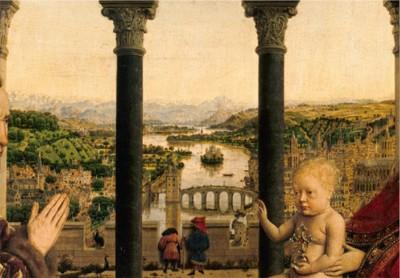 Fig.1. Le paysage « géographique » vu du portique de la chambre de la Vierge Jan Van EYCK,, La vierge du Chancelier Rolin, 1430-1434, détail ©RMN