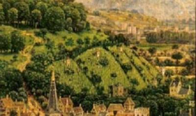 Fig.3. Détail du coteau viticole de la partie gauche du tableau (rive droite de la rivière, à l'amont de la ville)