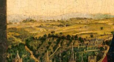 Fig.4. Détail du plateau cultivé à droite de la vue du portique (le coteau porte aussi des parcelles de vignes sur la pente comme sur l'autre rive, mais la distance empêche l'identification précise)
