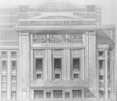 Façade du Théâtre des Champs-Elysées, 1913 (Bibliothèque historique de la ville de Paris)