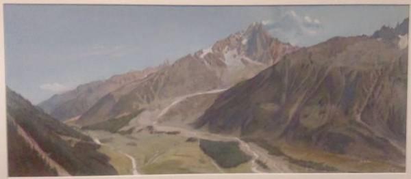Fig. 1: Le glacier des bois et la vallée de Chamonix, Aiguille Verte et Aiguille du Dru, pendant la période glaciaire et actuellement, Viollet-le-Duc, aquarelle et gouache, 1874 (Médiathèque de l'architecture et du patrimoine, Charenton-le-Pont)