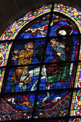 La fuite en Egypte, 1221-1230 Vitrail de la cathédrale de Chartres