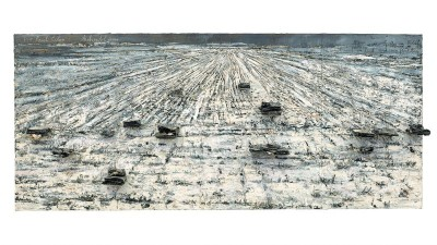 Für Paul Ceylan Aschenblume [Pour Paul Celan : Fleur de cendre] 2006 Huile, émulsion acrylique, shellac et livres brûlés sur toile 330 x 760 x 40 cm : Collection particulière. Photo © Charles Duprat