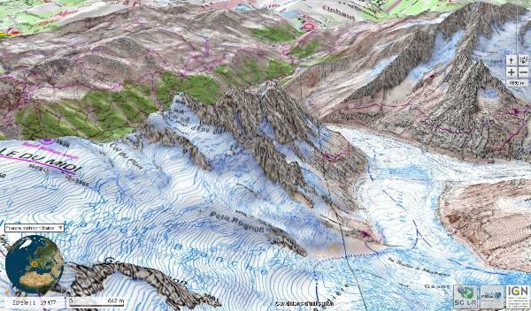 Fig6: image IGN geoportail 3D du massif des aiguilles de Chamonix étudiées par Viollet le Duc sur les dessins de la fig. 5