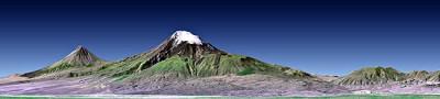 Image de synthèse du Grand Ararat (au milieu) et du Petit Ararat (à gauche) (Landsat,NASA).