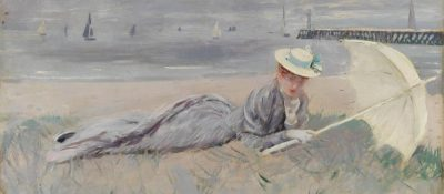 Paul-César Helleu, Mme Helleu sur la plage de Deauville. © Bayonne, musée Bonnat-Helleu. Cliché A.Vaquero
