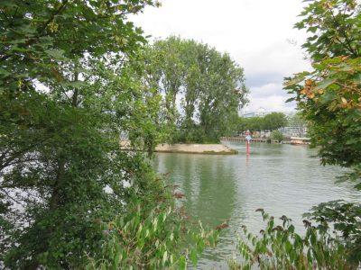 Ile Seguin (amont) vue de l'île Saint Germain (aval)