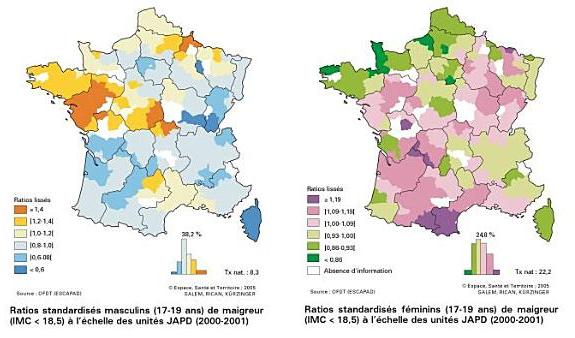 La maigreur en France : une géographie très contrastée Source : Marie-Laure Kürzinger, 2006, Atlas de la santé en France, vol. 2 « Comportements et maladies », John Libbey Eurotext, pp. 96.