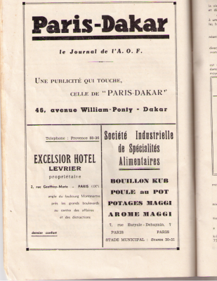 Journal de l'AOF vantant le cube Maggi, 1936