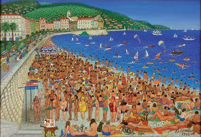 Jean Klissak, Mois d'août à Nice, 1982, Collection Musée International d'Art Naïf Anatole Jakowsky, Nice © Droits réservés.