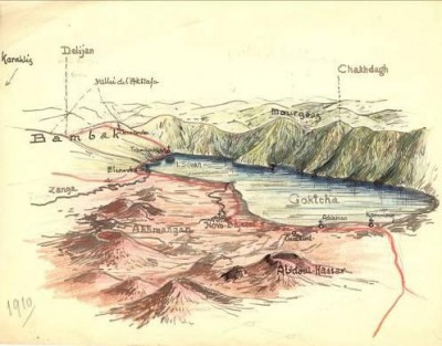 Fig. 1 : Rare perspective du lac Goktcha, actuel lac Sevan (Arménie)