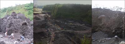 Extraction des matériaux de lahars sur la rivière Gendol – à gauche et à droite: exploitation artisanale – au centre: exploitation industrielle (sources: E. de BELIZAL)