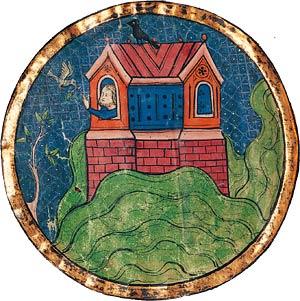 Manuscrit enluminé du xiiiesiècle représentant l'arche de Noé se posant sur la «montagne d'Ararat»