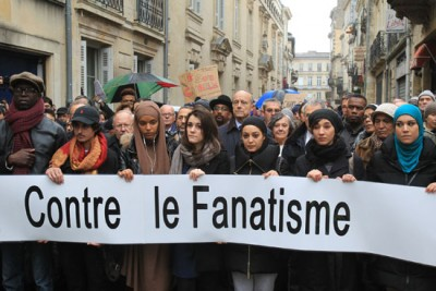 Marche interreligieuse et citoyenne à Bordeaux vendredi 9 janvier 2015 après les attentats contre Charlie Hebdo et l'Hyper Cacher (www.bordeaux.fr)