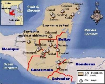 L'aire d'expansion des Mayas
