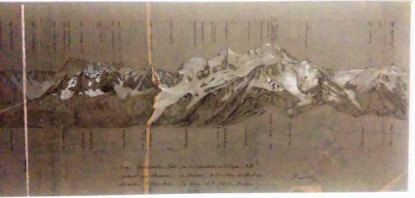 Fig.4: Massif du Mont-Blanc, coupe longitudinale faite près des parallèles à la ligne AB et passant par Chamonix, les Houches, le Pavillon de Bellevue, l'Argentière, les Tours et le col de Balme (partie droite, Viollet-le-Duc, s. d.) (Médiathèque de l'Architecture et du Patrimoine, Charenton-le-Pont) (Ce croquis panoramique accompagne en encadré la carte du Massif du Mont Blanc (sur laquelle figure la ligne AB mentionnée)
