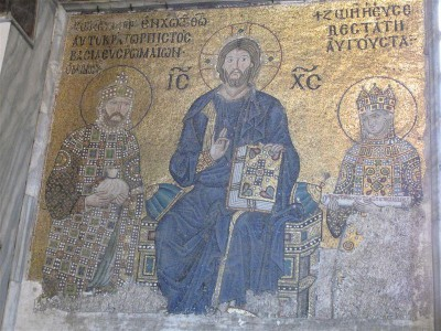 Mosaïque sur fond d'or dans Sainte Sophie