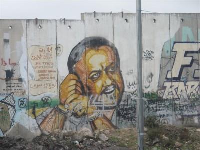 Il est écrit «Libérez Marwan Barghouti». (Cliché Maryse Verfaillie, novembre 2015)