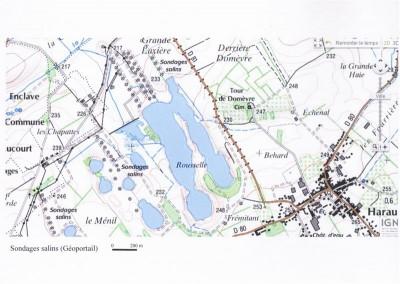 Fig. 9 Carte des sondages salins du plateau de Haraucourt (Géoportail)
