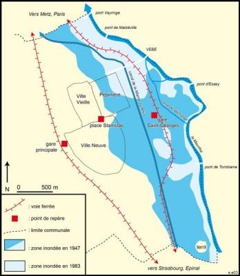 Fig. 1 Carte des inondations de la Meurthe (Simon Edelblutte)