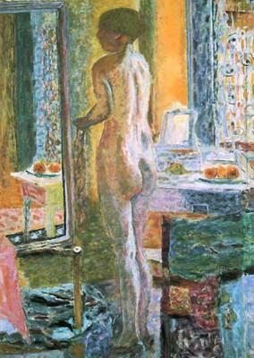 Nu au miroir, dit aussi La Toilette, dit aussi Nu devant la glace, A931 (Venise, Fondazione Musei Civici di Venezia). Le corps de Marthe comme un marbre de chair se reflète sous forme d'une vivante tapisserie de couleurs.