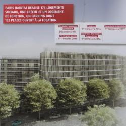 Panneau apposé par la ville de Paris: au premier plan, le boulevard Suchet; la gare n'est pas visible