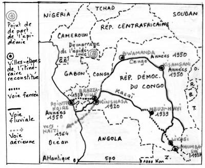 Le parcours géographique du sida en Afrique jusqu'aux années 1960 (Croquis de Daniel Oster, d'après la carte parue dans Le Monde daté du 5-6 octobre 2014)