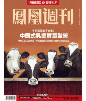 Figure 1. La Une du Phœnix Weekly, magazine d'information du Guangdong, titrant sur le « style de gestion chinois » du contrôle de la qualité du lait avec cette question, « Le lait vendu est-il sain ou pas ? » Source : Zhao et Ceng, 2013, « Jianguan de daijia – niunai zhen de bu anquan ma ? » [Le prix de la surveillance – le lait de vache est-il vraiment dangereux ?], Fenghuang zhoukan (Phœnix Weekly), n° 5, paru le 24 février 2013, URL : http://blog.sina.com.cn/s/blog_4b8bd1450102ebzt.html, consulté le 20 février 2014.