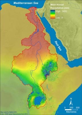 Les précipitations dans le bassin du Nil