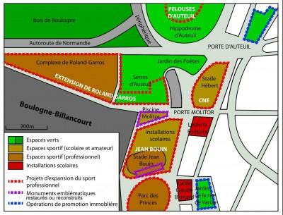 Projets dans le quartier Auteuil-Molitor (Source : Wikipédia, légende modifiée)