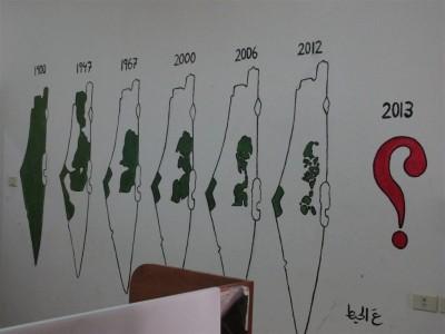 De 1900 à aujourd'hui, la quasi disparition de la Palestine arabe (Cliché Maryse Verfaillie, novembre 2015)