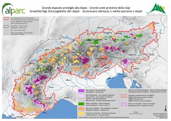 Carte du réseau alpin des espaces protégés Source: Alparc, 2012.