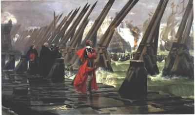 Le Cardinal de Richelieu sur la digue pendant le siège de La Rochelle
