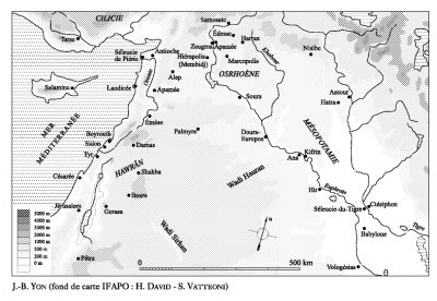 Carte extraite de l'article de Jean-Baptiste Yon, La romanisation de Palmyre et des villes de l'Euphrate, Annales. Histoire, Sciences sociales, 2004/2.