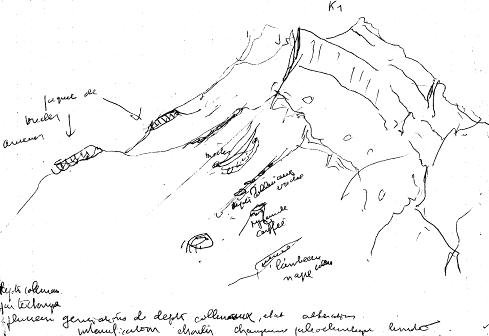 Fig. 1 - Croquis de terrain dessiné depuis la route de Gounib à Chokh(J.N. 1982). Sommets vers 2300 m.