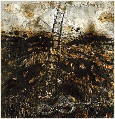 Seraphim 1983-1984 huile, paille, émulsion et shellac sur toile 320, 7 x 330, 8 Solomon R. Guggenheim Museum, New York © Photo Atelier Anselm Kiefer