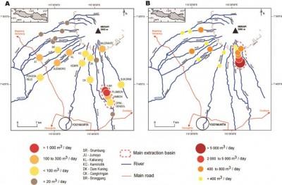 Carte de localisation des sites d'extraction après l'éruption de 2010 (A) et en 2014 (B) (E de Bélizal, 2014)