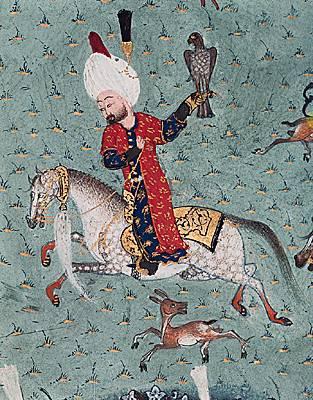 Soliman le Magnifique à la chasse aux faucons. Miniature de l'école persane du XVII ème. Bibliothèque de Topkapi.