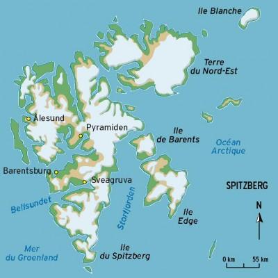 L'archipel de Svalbard, l'île du Spitzberg et la base scientifique de Ny-Alesund (source: comptoirs.fr)