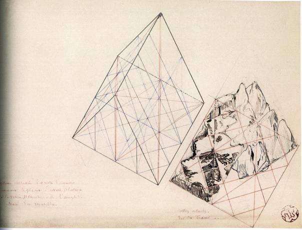 Fig. 5: Système rhomboédrique du Mont-Blanc, s.d. Viollet-le-Duc, (Médiathèque de l'Architecture et du Patrimoine, Charenton-le-Pont) Dessin de gauche: Système cristallin des restes d'aiguilles séparant le glacier d'Envers Blaitière de la Vallée Blanche, à l'angle. Dessin de droite: Restes actuels Vus du Tacul
