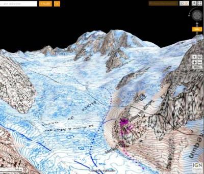 Imagerie geoportail  carte IGN 3D correspondant à peu près à l'orientation du dessin de Perot, mais sous les contraintes perspectives du modèle numérique de terrain.