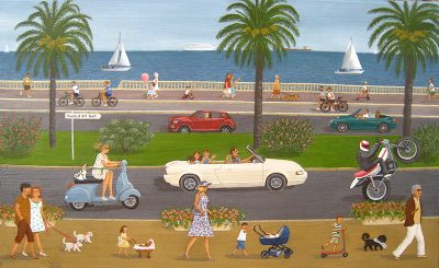 Claude Ulhmann-Cottet, La promenade des Anglais. Pigments sur bois ancien, 2014, Collection de l'artiste © Claude Ulhmann-Cottet.