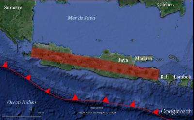 Les volcans javanais (Google Earth).
